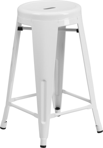 24 Inch High Backless White Metal Indoor-Outdoor Counter Height Stool FLF-CH-31350-24-WH-GG