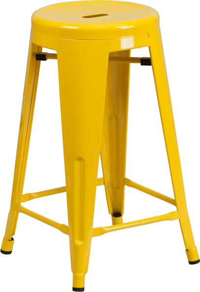 24 Inch High Backless Yellow Metal Indoor-Outdoor Counter Height Stool FLF-CH-31350-24-YL-GG