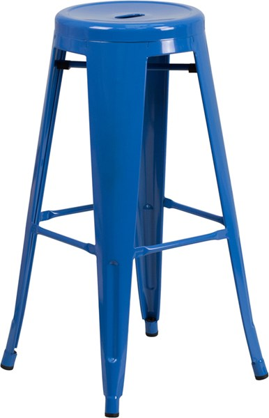 30 Inch High Backless Blue Metal Indoor-Outdoor Round Barstool FLF-CH-31350-30-BL-GG