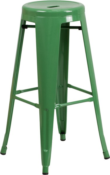 30 Inch High Backless Green Metal Indoor-Outdoor Round Barstool FLF-CH-31350-30-GN-GG