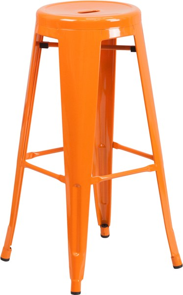 30 Inch High Backless Metal Indoor-Outdoor Barstool w/Round Seat FLF-CH-31350-30-GG-BS-VAR