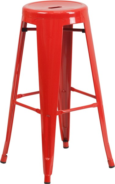 30 Inch High Backless Red Metal Indoor-Outdoor Round Barstool FLF-CH-31350-30-RED-GG