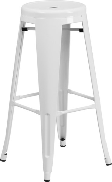 30 Inch High Backless White Metal Indoor-Outdoor Round Barstool FLF-CH-31350-30-WH-GG