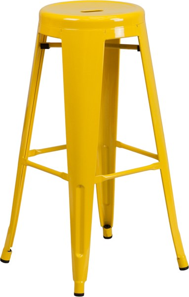 30 Inch High Backless Yellow Metal Indoor-Outdoor Round Barstool FLF-CH-31350-30-YL-GG