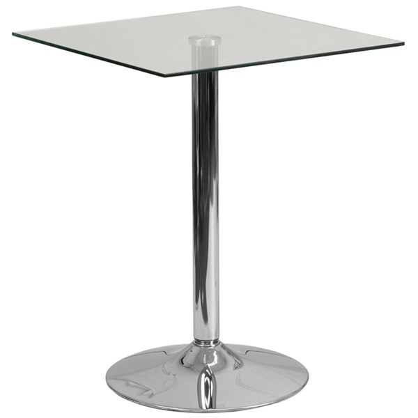 Flash Furniture 23.75 Inch Square Glass Table with 30 Inch Height Chrome Base FLF-CH-4-GG