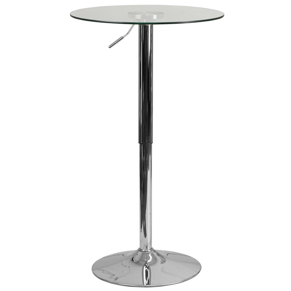 23.5 Inch Round Adjustable Height Glass Table FLF-CH-5-GG