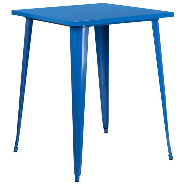 Flash Furniture Blue Metal Square Top Indoor Outdoor Bar Height Table FLF-CH-51040-40-BL-GG