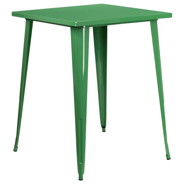 Flash Furniture Green Metal Square Top Indoor Outdoor Bar Height Table FLF-CH-51040-40-GN-GG