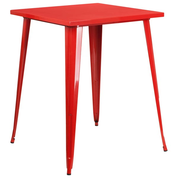 Flash Furniture Red Metal Square Top Indoor Outdoor Bar Height Table FLF-CH-51040-40-RED-GG