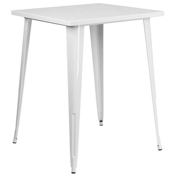 Flash Furniture White Square Metal Indoor Outdoor Bar Table FLF-CH-51040-40-WH-GG