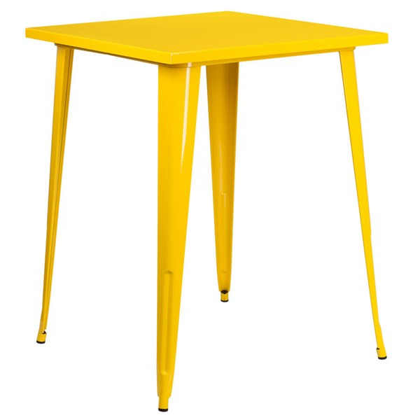 Flash Furniture Yellow Metal Square Top Indoor Outdoor Bar Height Table FLF-CH-51040-40-YL-GG