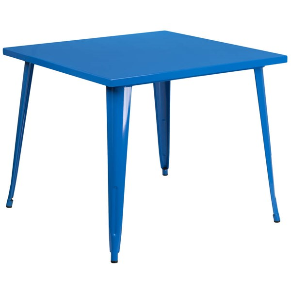 Flash Furniture Modern Blue Metal Square Top Indoor Outdoor Table FLF-CH-51050-29-BL-GG