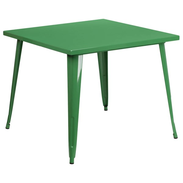Modern Green Metal Square Top Indoor Outdoor Table FLF-CH-51050-29-GN-GG