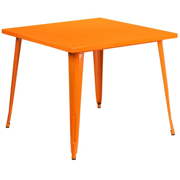 Flash Furniture Modern Orange Metal Square Top Indoor Outdoor Table FLF-CH-51050-29-OR-GG