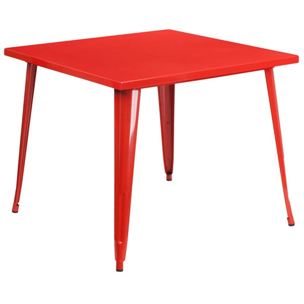 Flash Furniture Modern Red Metal Square Top Indoor Outdoor Table FLF-CH-51050-29-RED-GG