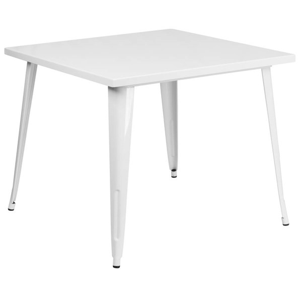 Flash Furniture Modern White Metal Square Top Indoor Outdoor Table FLF-CH-51050-29-WH-GG