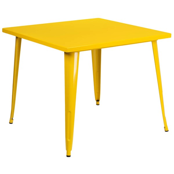 Modern Yellow Metal Square Top Indoor Outdoor Table FLF-CH-51050-29-YL-GG