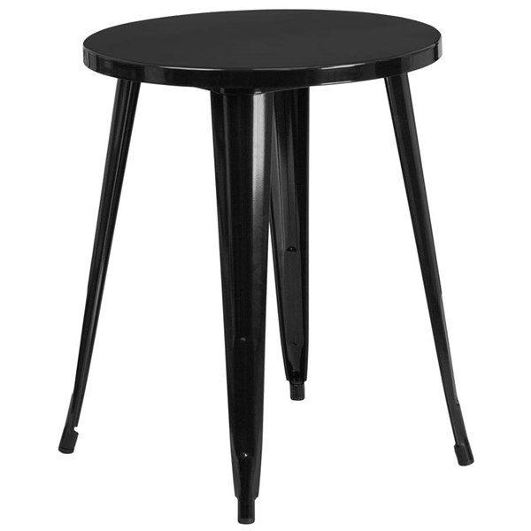 Flash Furniture Modern Black Metal 24 Inch Round Top Indoor Outdoor Table FLF-CH-51080-29-BK-GG