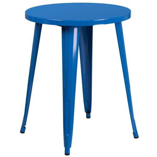 Flash Furniture Modern Blue Metal 24 Inch Round Top Indoor Outdoor Table FLF-CH-51080-29-BL-GG
