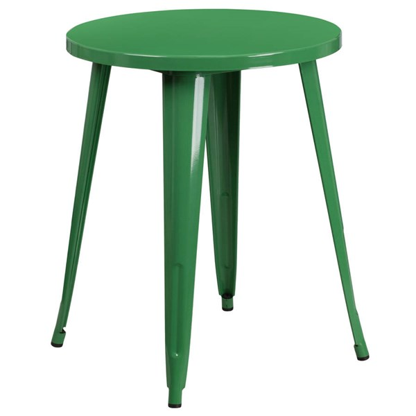 Flash Furniture Modern Green Metal 24 Inch Round Top Indoor Outdoor Table FLF-CH-51080-29-GN-GG