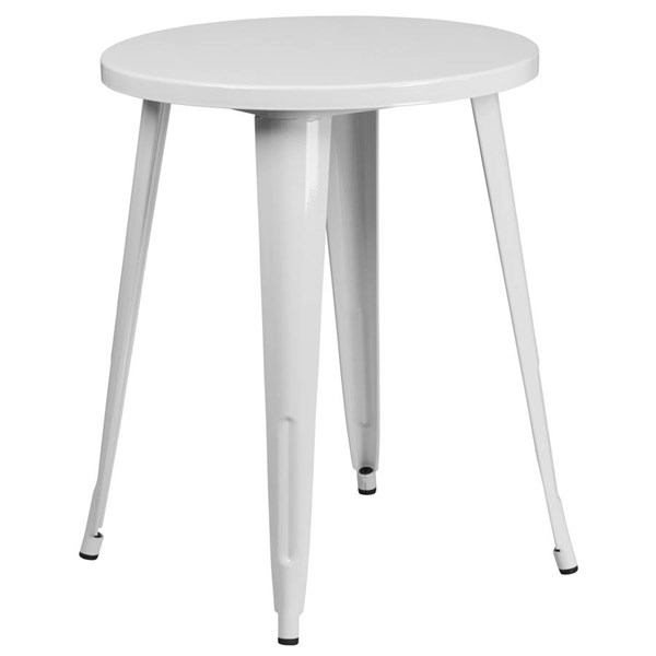 Flash Furniture Modern White Metal 24 Inch Round Top Indoor Outdoor Table FLF-CH-51080-29-WH-GG