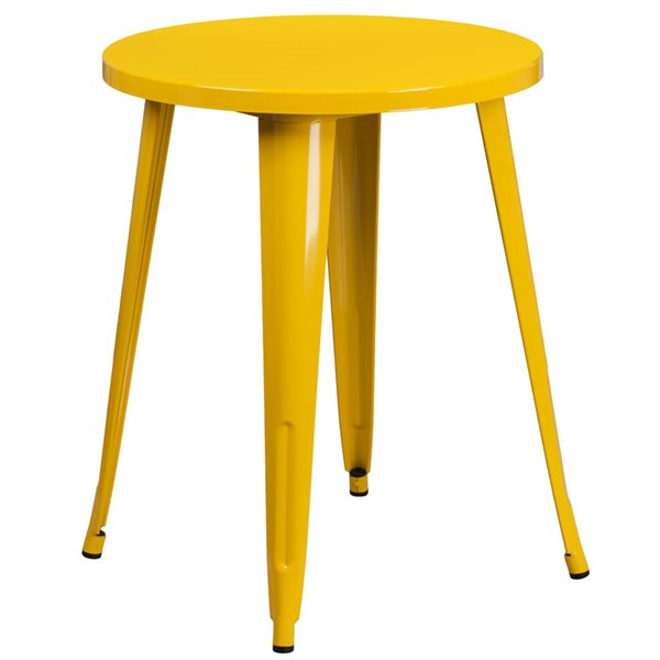 Modern Yellow Metal 24 Inch Round Top Indoor Outdoor Table FLF-CH-51080-29-YL-GG