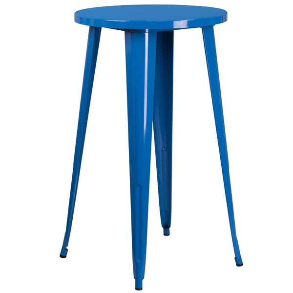 Flash Furniture Blue Metal 24 Inch Round Top Indoor Outdoor Bar Height Table FLF-CH-51080-40-BL-GG