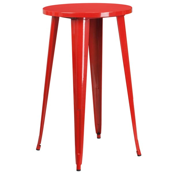 Flash Furniture Red Metal 24 Inch Round Top Indoor Outdoor Bar Height Table FLF-CH-51080-40-RED-GG