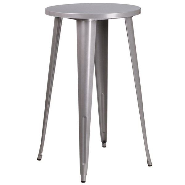Flash Furniture Silver 24 Round Indoor Outdoor Bar Table FLF-CH-51080-40-SIL-GG