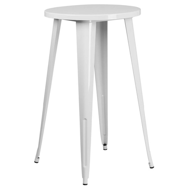 Flash Furniture White Metal 24 Inch Round Top Indoor Outdoor Bar Height Table FLF-CH-51080-40-WH-GG