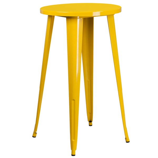 Flash Furniture Yellow Metal 24 Inch Round Top Indoor Outdoor Bar Height Table FLF-CH-51080-40-YL-GG