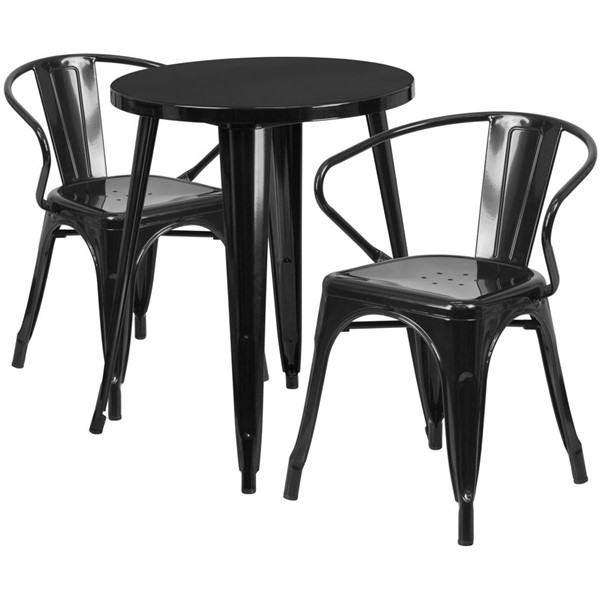 Flash Furniture Black Metal Indoor Outdoor Table Set with 2 Arm Chairs FLF-CH-51080TH-2-18ARM-BK-GG