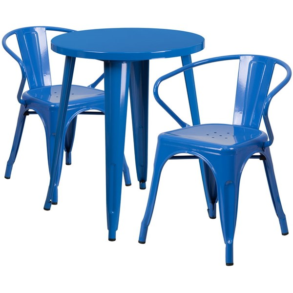 Flash Furniture Blue Metal Indoor Outdoor Table Set with 2 Arm Chairs FLF-CH-51080TH-2-18ARM-BL-GG