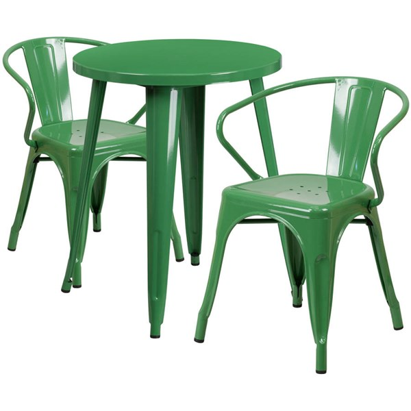 Flash Furniture Green Metal Indoor Outdoor Table Set with 2 Arm Chairs FLF-CH-51080TH-2-18ARM-GN-GG