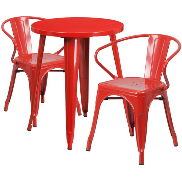 Flash Furniture Red Metal Indoor Outdoor Table Set with 2 Arm Chairs FLF-CH-51080TH-2-18ARM-RED-GG