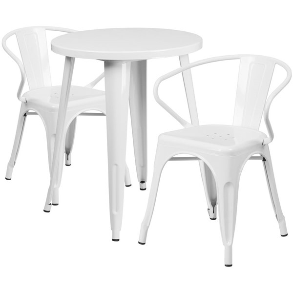 Flash Furniture White Metal Indoor Outdoor Table Set with 2 Arm Chairs FLF-CH-51080TH-2-18ARM-WH-GG