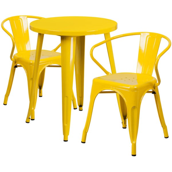 Flash Furniture Yellow Metal Indoor Outdoor Table Set with 2 Arm Chairs FLF-CH-51080TH-2-18ARM-YL-GG