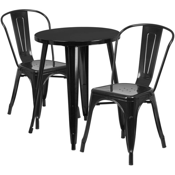Flash Furniture Black Round Top Indoor Outdoor Table Set with 2 Cafe Chairs FLF-CH-51080TH-2-18CAFE-BK-GG