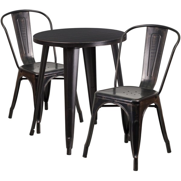 Flash Furniture Black Gold Round Top Indoor Outdoor Table Set with 2 Cafe Chairs FLF-CH-51080TH-2-18CAFE-BQ-GG