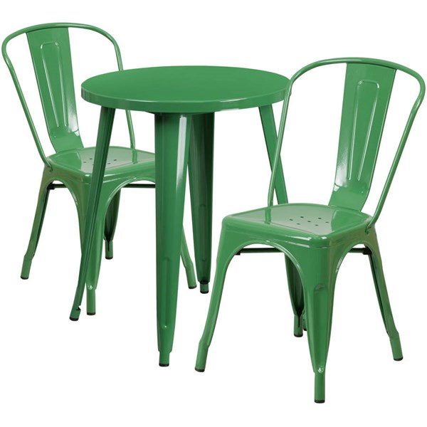 Flash Furniture Green Round Top Indoor Outdoor Table Set with 2 Cafe Chairs FLF-CH-51080TH-2-18CAFE-GN-GG