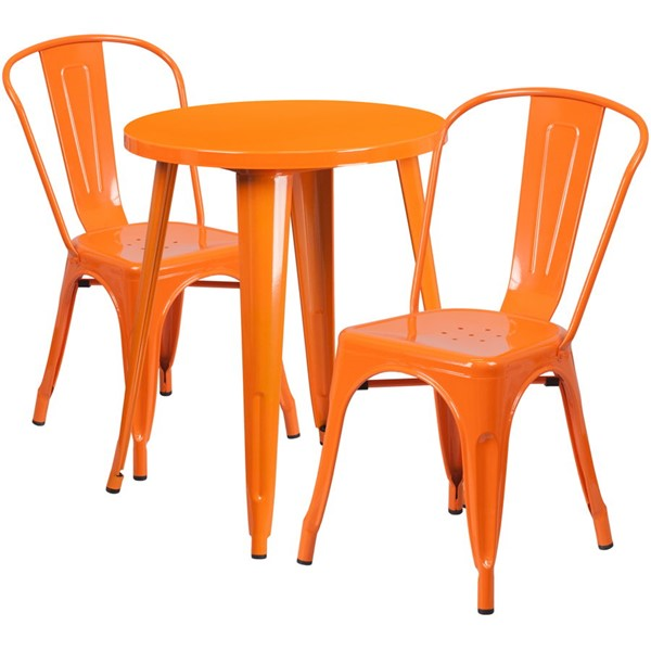Flash Furniture Orange Round Top Indoor Outdoor Table Set with 2 Cafe Chairs FLF-CH-51080TH-2-18CAFE-OR-GG
