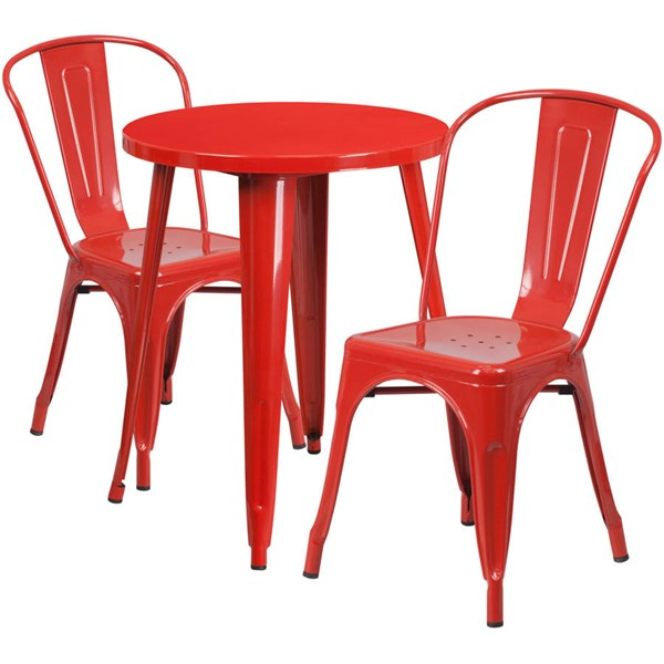 Red Metal Round Top Indoor Outdoor Table Set with 2 Cafe Chairs FLF-CH-51080TH-2-18CAFE-RED-GG