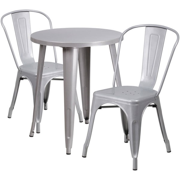 Flash Furniture Silver Round Top Indoor Outdoor Table Set with 2 Cafe Chairs FLF-CH-51080TH-2-18CAFE-SIL-GG