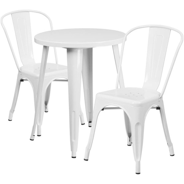 White Metal Round Top Indoor Outdoor Table Set with 2 Cafe Chairs FLF-CH-51080TH-2-18CAFE-WH-GG