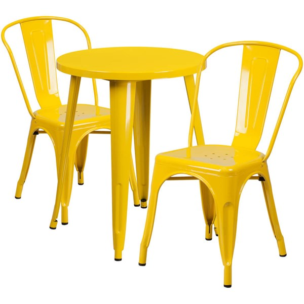 Yellow Metal Round Top Indoor Outdoor Table Set with 2 Cafe Chairs FLF-CH-51080TH-2-18CAFE-YL-GG