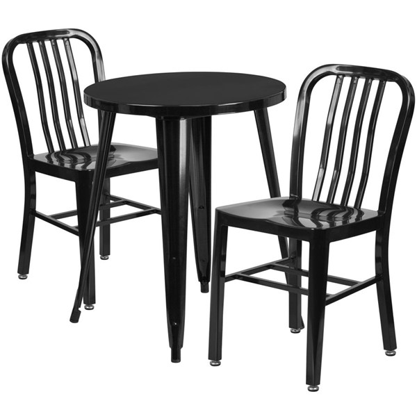 Flash Furniture Black Indoor Outdoor Table Set with 2 Slat Back Chairs FLF-CH-51080TH-2-18VRT-BK-GG