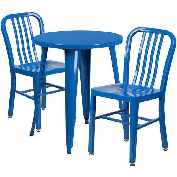 Blue Metal Round Top Indoor Outdoor Table Set with 2 Slat Back Chairs FLF-CH-51080TH-2-18VRT-BL-GG