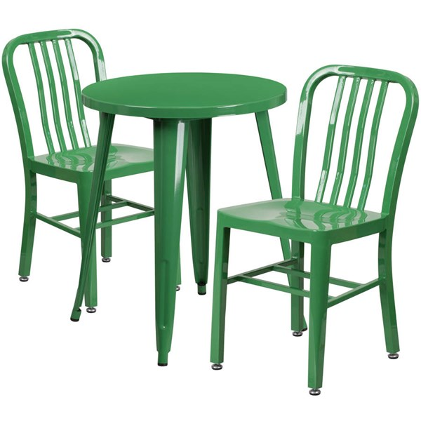 Flash Furniture Green Indoor Outdoor Table Set with 2 Slat Back Chairs FLF-CH-51080TH-2-18VRT-GN-GG