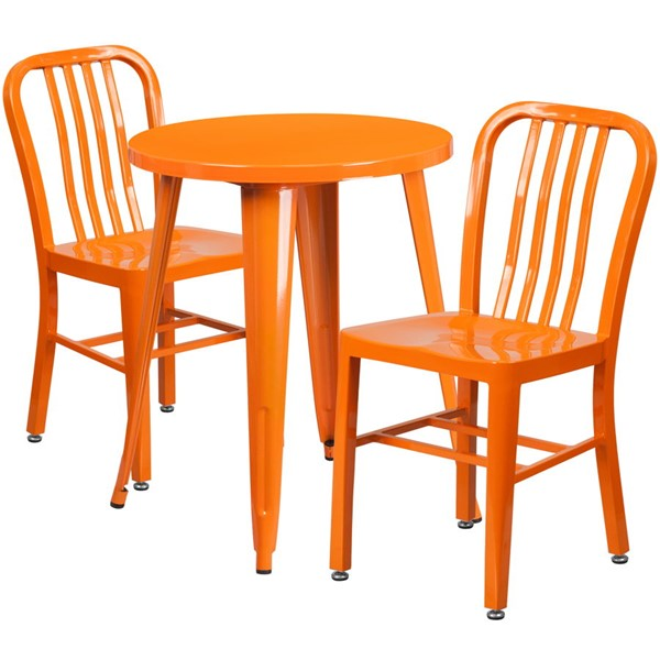Flash Furniture Orange Indoor Outdoor Table Set with 2 Slat Back Chairs FLF-CH-51080TH-2-18VRT-OR-GG