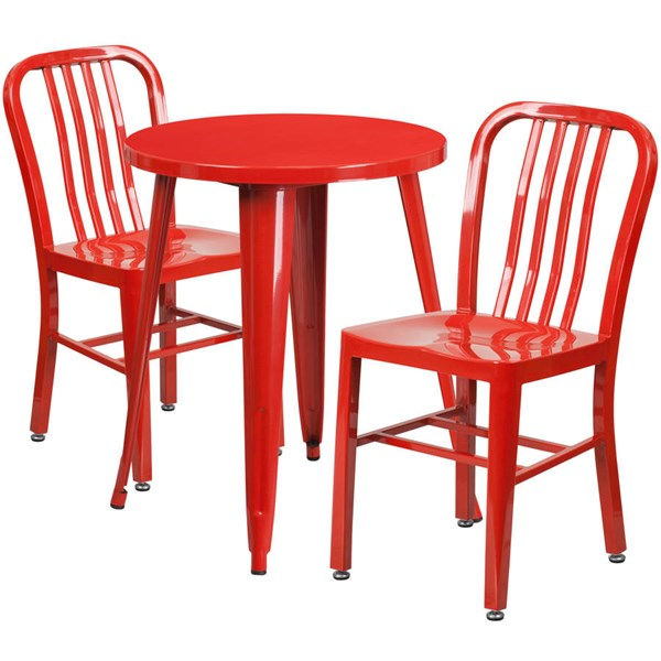 Flash Furniture Red Indoor Outdoor Table Set with 2 Slat Back Chairs FLF-CH-51080TH-2-18VRT-RED-GG